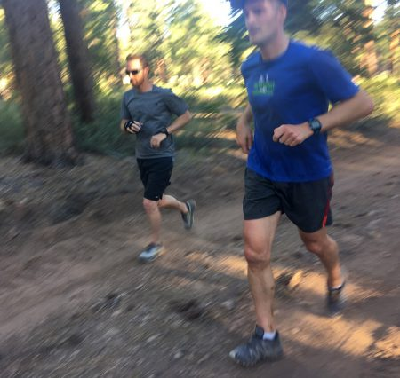 Grant (left) and Greg) at a Monday Night Trail Teaser. Photo by Helen Pelster
