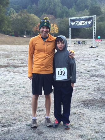 Owen and his dad, Jeff, after the race in Oakland. Photo: Laura Brown