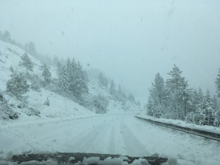 driving home on a deserted Hwy 80 (deserted because it was closed at the exit above us)